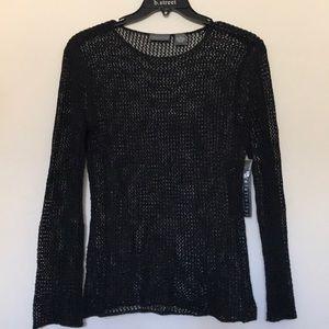 Relativity Fishnet Knitted Black Top